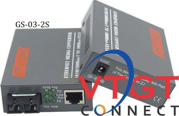 Bộ chuyển đổi quang điện NETLINK 2 sợi 10/100/1000M HTB-GS-03