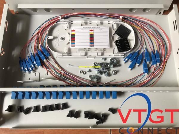 Hộp phối quang ODF 16FO indoor gắn rack đầy đủ phụ kiện