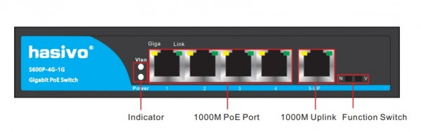 Switch POE 4 cổng Hasivo S600P- 4G- 1G