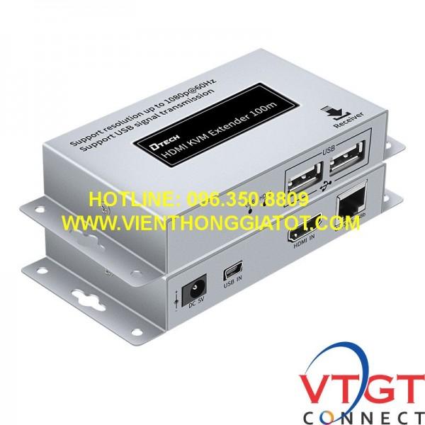 Bộ khuếch đại kéo dài HDMI qua LAN + USB Dtech DT-7054A(2ND)