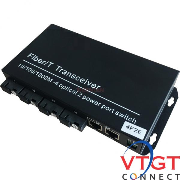 Switch 4 cổng quang SC + 2 cổng LAN 10/100/1000M